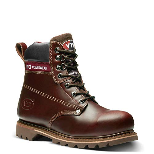 V12 Boulder, Rich Mahogany Hide Safety Boot, 10 UK 44 EU, Mahogany -