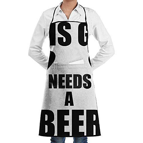 UQ Galaxy Küchenschürze,Dieser Kerl braucht EIN Bier Schürze Lace Adult Chef Einstellbare Lange vollschwarze Küche Schürzen Lätzchen mit Taschen zum Basteln Garten Backen