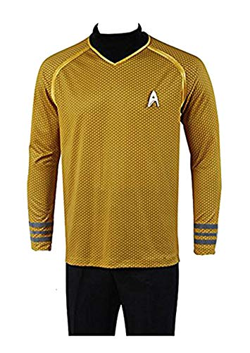 Captain Trek Kostüm Star Shirt Kirk - FUMAN Uniform Captain Kirk Shirt Cosplay Kostüm Gelb XXXL