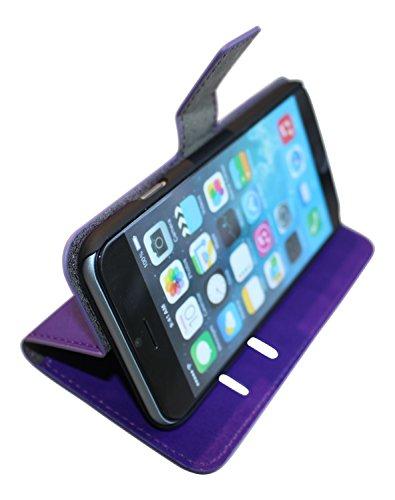Handy-Hülle für Apple iPhone 4 5 6 Plus S C G, in vielen Farben, Schutz-tasche mit Magnet, Kartenfach und Standfunktion, Handy-Tasche aus edlem Kunst-Leder, professionell gefertigt - Dealbude24 Rot
