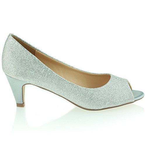 Frau Damen Abend Party Hochzeit Abschlussball Feminin Peeptoe Schimmernd Kitten Heel Sandalen Schuhe Größe Silber