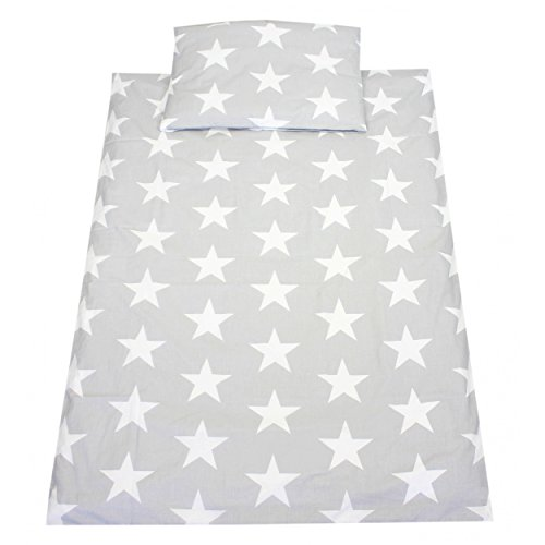TupTam Kinder Bettwäsche Set 100x135 Baumwolle Gemustert, Farbe: Grau Große Weiße Sterne, Größe: 135x100 cm (Baumwolle 100% Sterne)