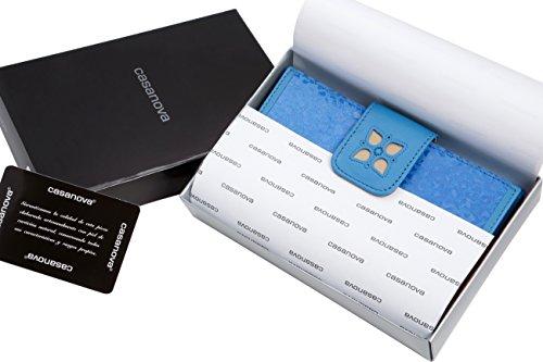 Fatto a mano da artigiani in Spagna - Vera Pelle di alta qualità - Portafoglio donna - Colori disponibili Blu