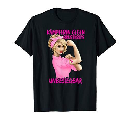 Brustkrebs-schwarz T-shirt (Brustkrebs Kämpferin T-Shirt Unbesiegbar)