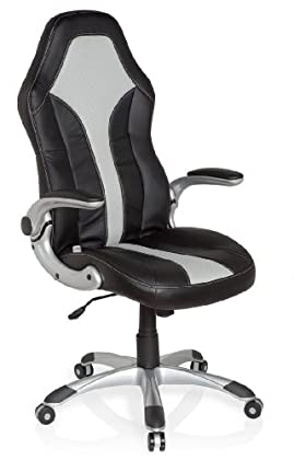 hjh OFFICE 621780 silla gaming RACER 400 piel sintética, negro/plateado, con apoyabrazos plegables, buen acholchado, muy cómodo, fácil de limpiar, silla inclinable, silla giratoria, silla oficina, silla escritorio