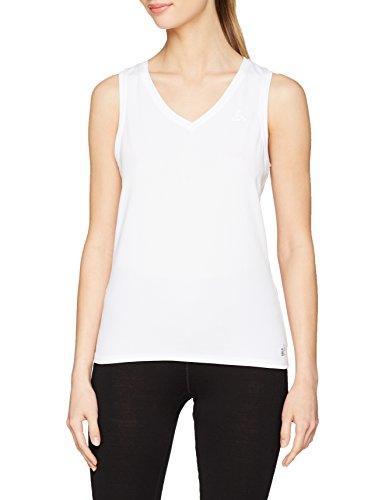 Odlo Damen SUW TOP V-Neck Singlet Active F-Dry Light Unterhemd, White, XL