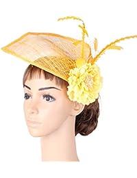 Wenzhihua Fascinator Vintage Hat Feather Flower Wedding Wedding Copricapo Accessori  Royal Ascot Cocktail Tea Party Cappelli da Sposa per Le… e4e94f2e1169