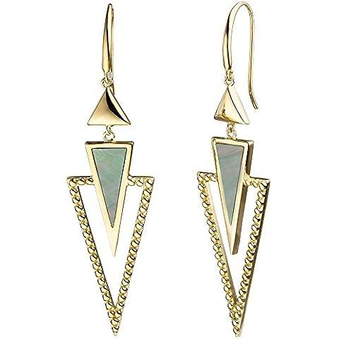 Orecchini pendenti orecchini triangoli con madreperla verde 925argento placcato oro giallo