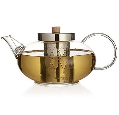 The Tea Makers of London Théière en verre avec infuseur en acier inoxydable 1200ml–2015Nouveau design avec une meilleure Couvercle et filtre