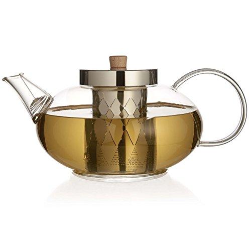 The Tea Makers of London Théière en verre avec infuseur en acier inoxydable 1200 ml – 2015 Nouveau design avec une meilleure Couvercle et filtre