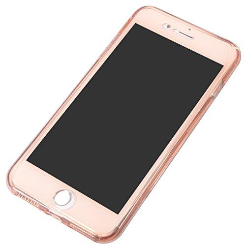 Vandot Luxe Case iPhone 6S Plus Coque arrière en Silicone TPU Cover Transparent avec Bling Diamant Bumper Frame pour iPhone 6 Plus Ultra Fines Paillettes Strass Premium Mat Étui Cristal Case Glitter C Paillette-Rose