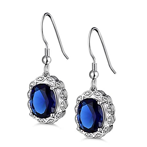 GULICX Luxury 925 Sterling Silver Drop Earrings Classic Style Sapphire Blue Color Cubic Zirconia Dangle Earrings For Women Valentines Gift