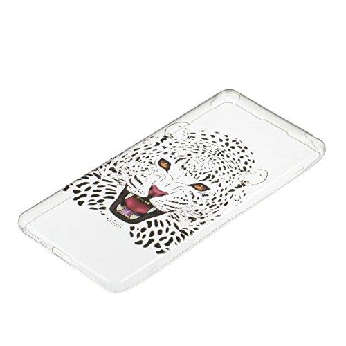 Ukayfe Custodia per Sony F3111BLK Sony Xperia XA F3111,UltraSlim TPU Gel Gomma Silicone Copertura Case per Sony F3111BLK Sony Xperia XA F3111,Moda Serie Pattern Back Cover Crystal Skin Custodia Stilos Testa di tigre