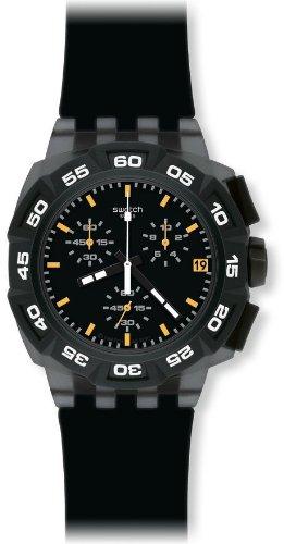 Swatch SUIB414 – Reloj cronógrafo de caballero de cuarzo con correa de plástico negra
