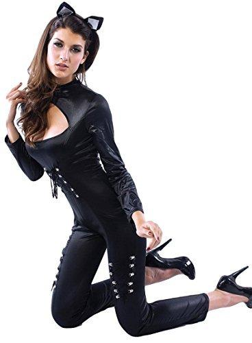 Kostüm Catwoman Kostüme Uk (Damen Sexy Catwoman Catsuit PVC Overall Cat Sexy Halloween Held Villain Kostüm Kleid Outfit UK 34-44 - Schwarz,)