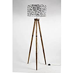 Handmade Drum shape Beautiful Printed Silk Fabric Shade Wooden Tripod Floor Lamp