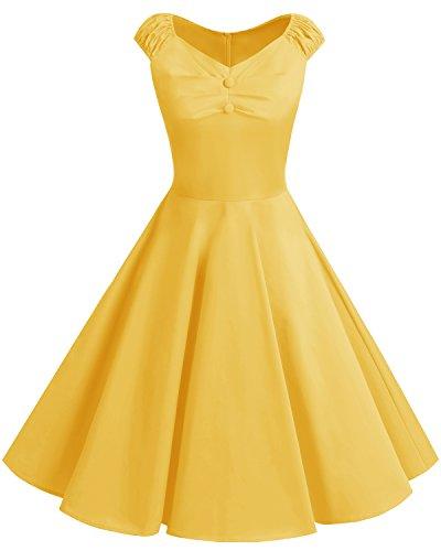 Bbonlinedress Damen Vintage Retro kurzes Kleid mit kleinem V-Ausschnitt