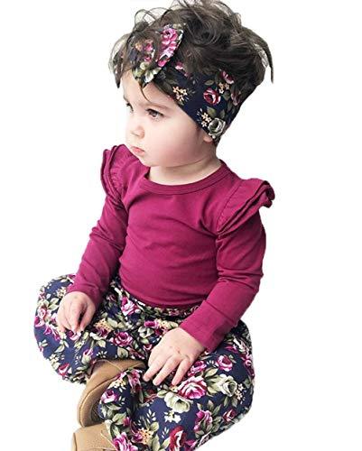 Nansiche Neugeborenes Baby-Mädchen-Rosen-rotes Spielanzug-Oberseiten-Blumenlose Hosen und Bowknot-Stirnband 3pc Ausstattungs-gesetzter Säuglingsoverall (0-6M) (Die Rote Rose Mädchen)