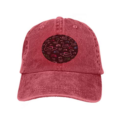 Unisex Adult Baseball Mesh Cap Water Lilly swan Love Nature Repeat Pattern Water Lilly swan red ()