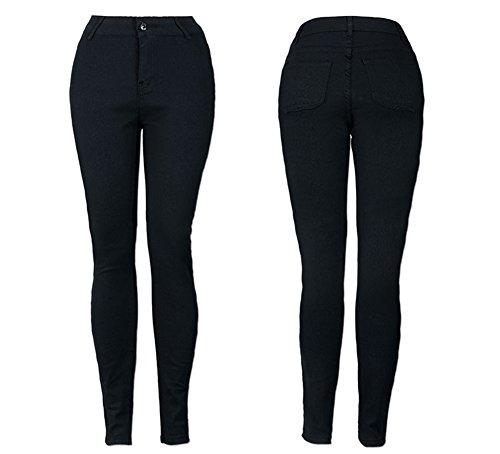 Jeans Donna Skinny Pantaloni a Vita Alta Leggings Stretch Slim Nero
