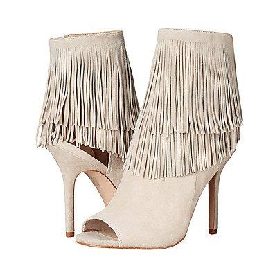 RUGAI-UE Estate Moda Donna Sandali Casual PU scarpe tacchi comfort,Bianco,US8.5 / EU39 / UK6.5 / CN40 Beige