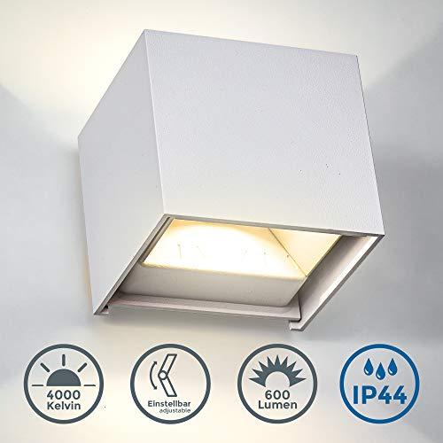 B.K.Licht LED Wandspot I Verstellbarer Lichtkegel I 7W LED Modul I 4.000K Neutralweiß I IP44 Spritzwasserschutz I Metall I Weiß I 600 Lumen I Wandlampe I Außenwandleuchte I Innen- und Außenbereich