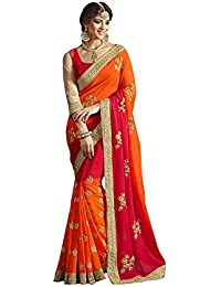 New Designer Saree Shop Women's Georgette Saree With Blouse Piece (1086 Red, Red, Free Size)