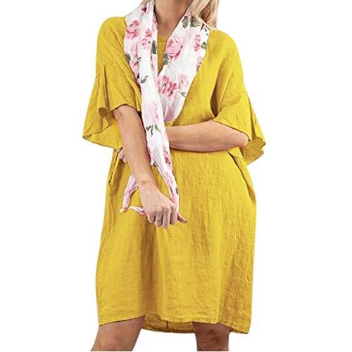 POPLY Blusenkleid für Damen Frauen Baumwolle Leinen Kurzarm Lose T-Shirts Kleider Flare-Ärmel O Neck Einfarbig Kleid(Gelb,XL)