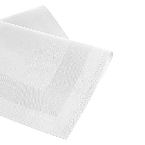 Damast Stoffservietten / Mundservietten mit Atlaskante weiß, 50 x 50 cm, 6 Stück