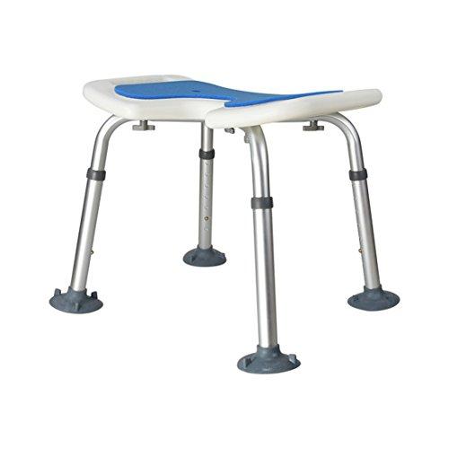 WENTAO Duschhocker/7 Gang/Höhenverstellung 35,5-50,5 cm/Aluminium und PE-Blasformen/Für Behinderte/Senioren/Schwangere Maximale Statische Belastung 136 Kg