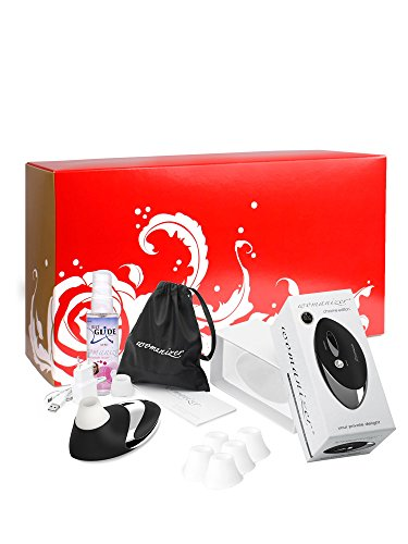 Womanizer Geschenke-Set: Womanizer Pro W500 Chrome/Schwarz + Gleitgel + 5 Ersatzköpfe