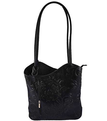 2 in 1 Handtasche Rucksack Designer Luxus Henkeltasche aus Echtleder in versch. Designs (Prägung Schwarz)