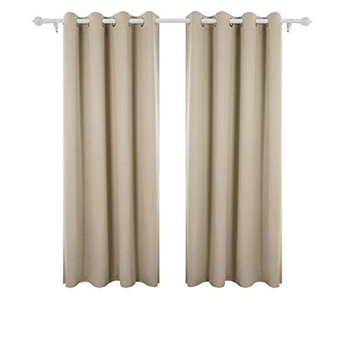 Deconovo tende finestre soggiorno oscuranti termiche isolanti con occhielli super morbide per casa moderne 100% poliestere 117x183 cm beige scuro 2 pannelli