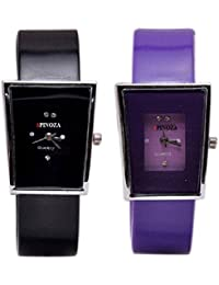 Freny Exim Sophisticated Set Of 2 Purple And Black Square Dial Soft Strap Analog Women Watches For Girls