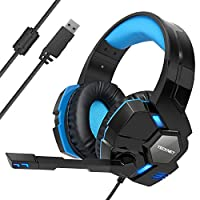TeckNet Gaming Headset, USB 7.1 Channel Surround Sound Over-Ear Gaming Headband With Blue LED Lighting, Noise Cancelling Microphone & Volume Control For PC Computer