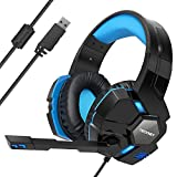TeckNet Casque Gaming, Over-Ear USB Casque Gaming Headset, Son Surround Virtuel 7.1,...