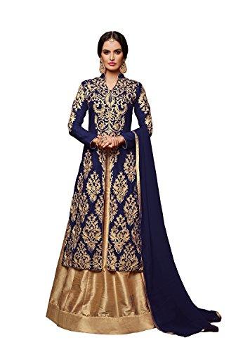 Monika Silk Mill Elegent Blue & Beige Color Banglori Silk Embroidered Suit