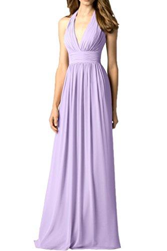 Sunvary Sexy V-Neck Damen Chiffon Neckholder Falte Abendkleider Bodenlang Promkleider Neu Partykleider Lilac