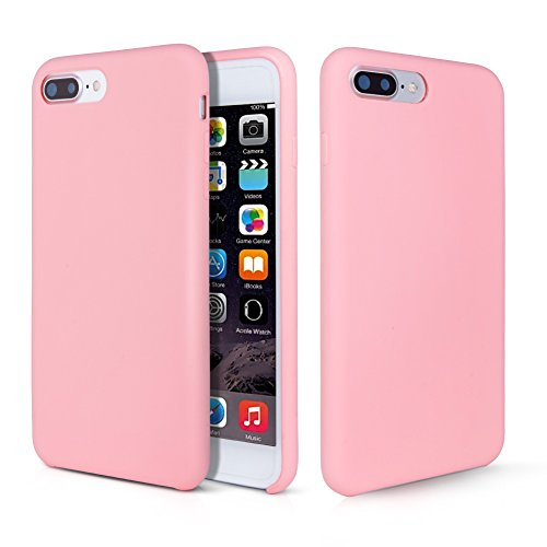 iPhone 8 Plus Hülle, Fuleadture iPhone 7 Plus Liquid Silikon Schutzhülle Flüssigsilikon Mikrofaser Case Cover für iPhone 7 Plus/ 8 Plus Rosa