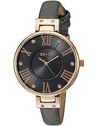 SO & CO New York 5091.3 - Reloj para mujeres, correa de cuero color gris
