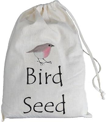 Bird Seed Storage Bag- Small Natural Cotton Drawstring Bag - SUPPLIED EMPTY