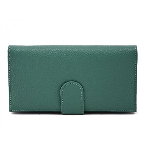 55e9f98d1e51 Portemonnaie Pour Femme En Cuir Véritable Couleur Turquoise - Maroquinerie  Fait En Italie - Accessoires