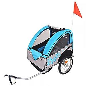 414J4sLUq L. SS300 Festnight- Rimorchio da Bici per Bambini/Carrello piegabile Grigio e Blu 30 kg