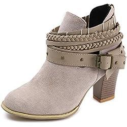 Mujer Botas con Tacón Cuña Altos Cremallera Otoño Chelsea de Vestir Piel Transpirable Botines Zapatos de Tacón Fiesta Hebilla Calzado Romano 8cm Gris 39