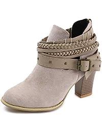 Mujer Botas con Tacón Cuña Altos Cremallera Otoño Chelsea de Vestir Piel Transpirable Botines Zapatos de