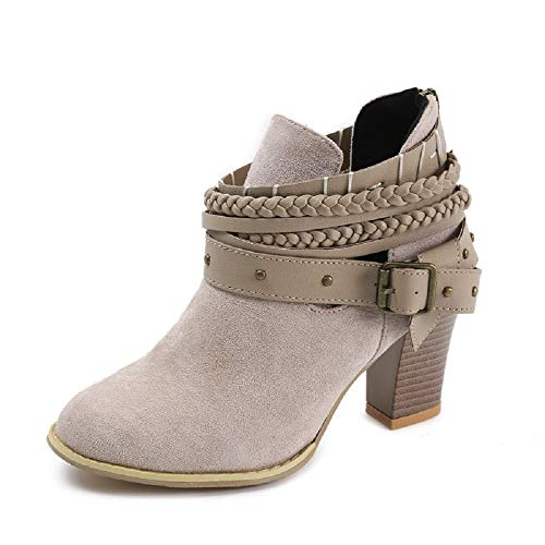 NEOKER Damen Stiefeletten Wedge Schnalle High-Heels Reißverschluss Stiefel Chelsea Schuhe Herbst Römische Trichterabsatz Outdoor Frauen Ankle Boots 8cm Grau 35