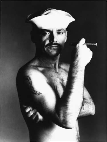 Posterlounge Leinwandbild 100 x 130 cm: Jack Nicholson mit Seemannshut und Zigarre von Everett Collection - fertiges Wandbild, Bild auf Keilrahmen, Fertigbild auf echter Leinwand, Leinwanddruck