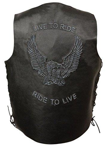 Echt Leder Herren Motorrad-Weste Live to Ride bestickt W/Seite Schnürsenkel Schwarz Regular)