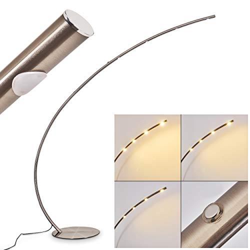 Lámpara de pie LED Halley de metal en níquel mate, con regulador de intensidad de luz de 3 fases en la carcasa, 4 x 4,5 vatios, 1720 lúmenes (total), 3000 Kelvin, ideal para salón
