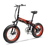 JPFCAK, 20-Zoll-Elektro-Klapp-Mountainbike, 20 * 4 Rad, 500W Motor, 5-Power-Assist, 7-Gang-Schaltung, Panasonic Lithium-Ionen-Akku, Jugend Off-Road-Fahrrad, Akkulaufzeit 60-110km,Red-48V10.4ah